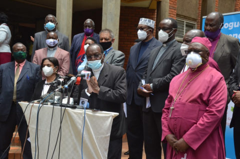 Chairman of Dialogue Reference Group Most Rev. Martin Kivuva, the Archbishop of Mombasa delivering a press statement at Ufungamano House, Nairobi on 26th, August 2020